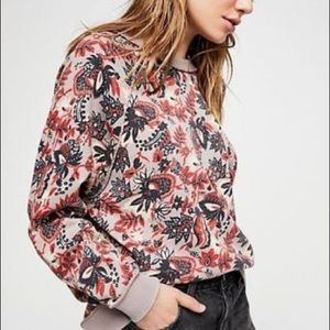 """Free People """"Go On Get Floral """" Sweater 